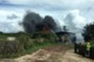 Firefighters tackle huge barn fire at Newmill near Penzance...