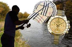 two neds on bikes push angler into river leven and nick his rolex