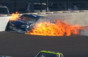 martin truex jr. takes out kyle busch, erupts into flames | 2017 brickyard 400