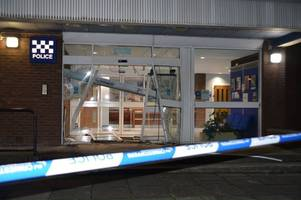 Ayr Police Station damaged after white van allegedly rams through front doors before speeding off chased by officers