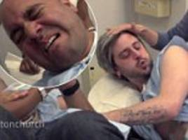 two silly men try labor pain simulator