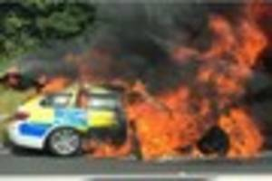 hot fuzz: cops see funny side of a38 police car fire