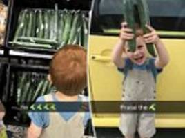 mother races to supermarket to buy her son a cucumber