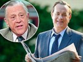 tom hanks suits up as ben bradlee on the set of the papers