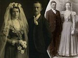 Victorian brides and grooms look glum in sepia photographs