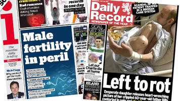 scotland's papers: sperm count 'collapse'