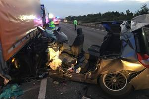 a woman suffered only minor injuries in this crash on the a14 near histon