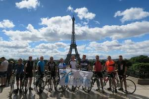 radiotherapy build team pedals to paris for dorset county hospital appeal