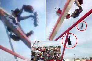 ohio state fair ride just moments before it malfunctions and throws victims into the air leaving one person dead