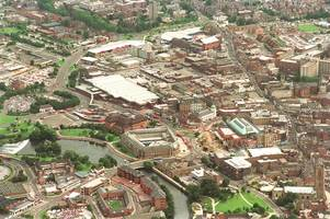 Aerial photograph shows Derby city centre 25 years ago