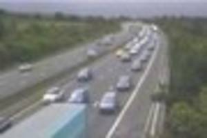 huge delays for motorists trying to leave devon on m5, a303 and...