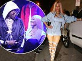 nicki minaj parties with future in a blue corset and heels
