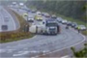 gridlock on m5, a38 and a30 as traffic grinds to a halt after bin...