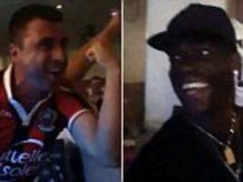 mario balotelli watches nice in champions league with fans