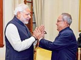 modi bids farewell to a father figure and mentor mukherjee