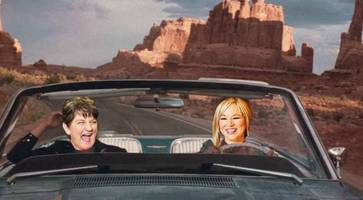 arlene foster and michelle o'neill hit the road in new play