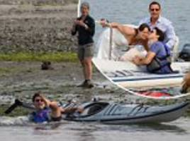 trudeau falls in water and poses for selfie with newlyweds