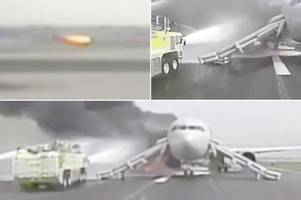 american airlines plane carrying 161 passengers bursts into huge fireball as it attempts to take off
