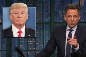 seth meyers calls trump a 'lying hypocrite' for taking long vacations