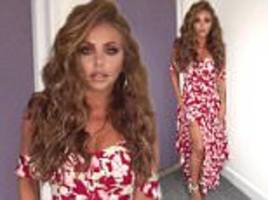 jesy nelson flaunts tattooed pins in red hot floral dress