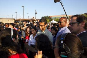 After cancelled town hall meeting, Google's CEO Sundar Pichai speaks at girls' coding event
