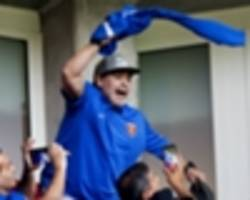 diego maradona attends psv win over az