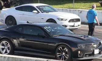 All-American Drag Race: Procharged Ford Mustang GT Fights Chevrolet Camaro ZL1