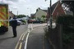 elderly woman and motorcyclist rushed to hospital after a serious...
