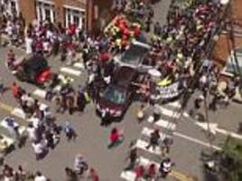 Drone footage shows man crash car into Charlottesville