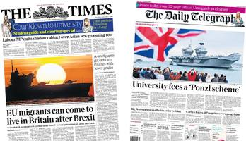 Newspaper headlines: Brexit 'backdoor' and new aircraft carrier