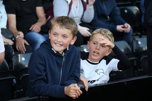 pictures: derby county fans celebrate a first win of the season for the rams at pride park stadium