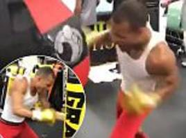 Chris Eubank Jr trains at Floyd Mayweather's gym
