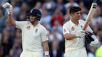 England v West Indies: Alastair Cook & Joe Root hit centuries in UK's first day-night Test