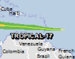 Green alert for tropical cyclone TROPICAL-17. Population affected by Category 1 (120 km/h) wind speeds or higher is 0.