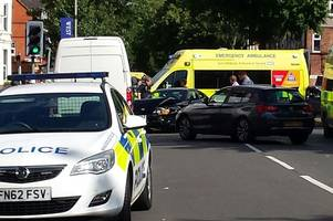 hinckley road closed after two men injured in three-car crash