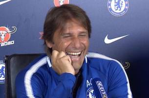 Chelsea boss Antonio Conte laughs uncontrollably about Diego Costa's 'criminal' comments