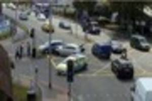 purley way partly blocked after two cars crash