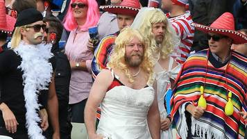 england v west indies: fancy dress cricket fans celebrate getting ball back