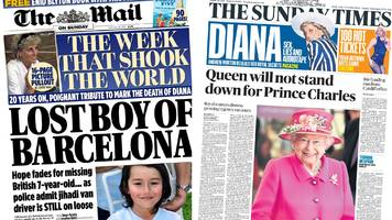 the papers: 'queen won't stand down' and 'lost' british boy