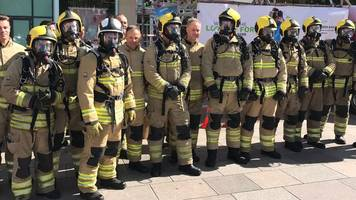 cardiff firefighters attempt world record ladder climb