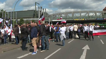 berlin police separate hundreds of neo-nazis, opponents in hess tribute march