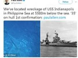 paul allen announces discovery of sunken wwii ship