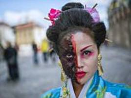 hundreds of zombies descend on stockholm for zombie march