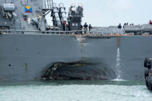 Search for 10 missing sailors as USS John S. McCain collides with oil tanker