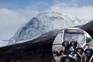watch as blantyre bus depot staff are piped off on charity nevis trek