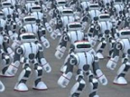 Over a thousand robots dance in unison