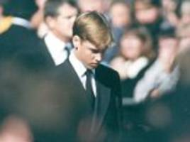 prince william 'hid behind hair' at diana's funeral