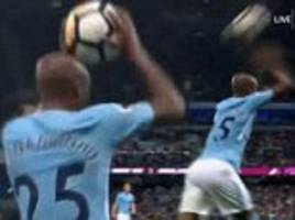 fernandinho takes horrendous throw-in against everton
