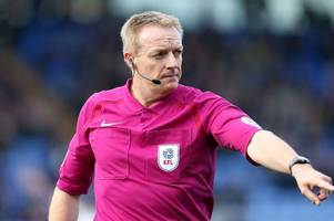 referee for derby county's carabao cup match against grimsby this evening confirmed