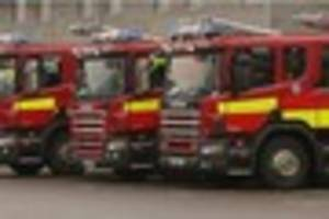 three fire engines called to car which burst into flames on m25...